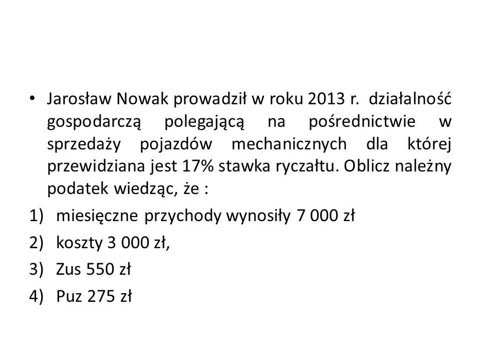 Jarosław Nowak prowadził w roku 2013 r. działalność gospodarczą polegającą na pośrednictwie w sprzedaży pojazdów mechanicznych dla której przewidziana