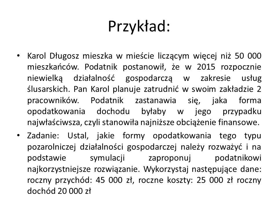 Przykład: Karol Długosz mieszka w mieście liczącym więcej niż 50 000 mieszkańców. Podatnik postanowił, że w 2015 rozpocznie niewielką działalność gosp