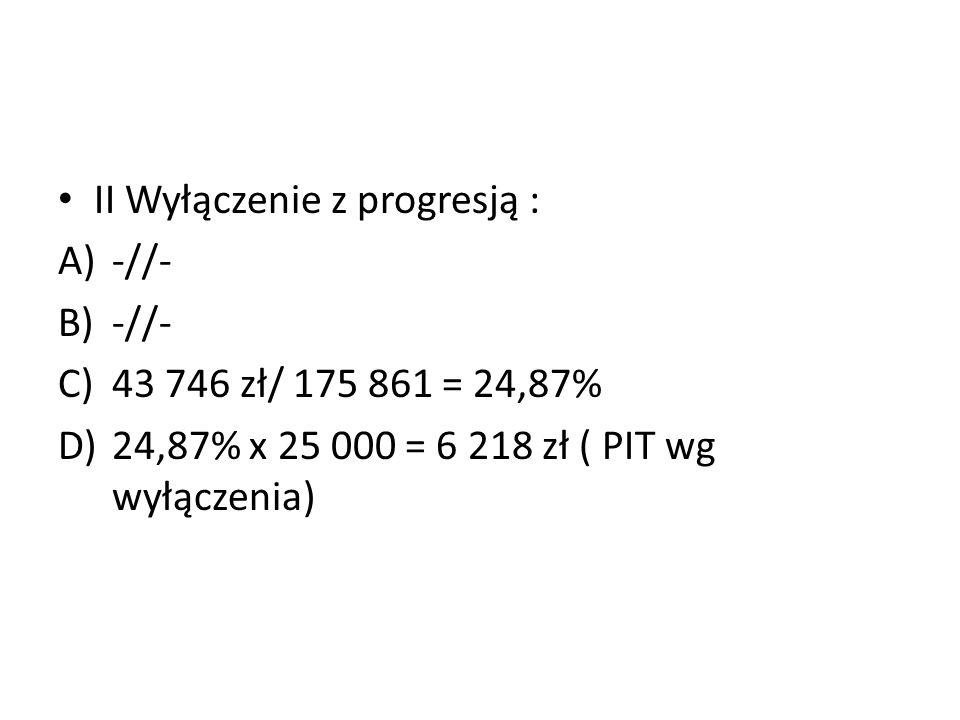 II Wyłączenie z progresją : A)-//- B)-//- C)43 746 zł/ 175 861 = 24,87% D)24,87% x 25 000 = 6 218 zł ( PIT wg wyłączenia)