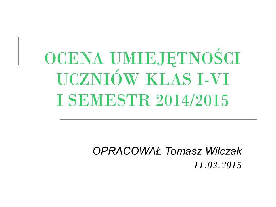 OCENA UMIEJ Ę TNO Ś CI UCZNIÓW KLAS I-VI I SEMESTR 2014/2015 OPRACOWAŁ Tomasz Wilczak 11.02.2015