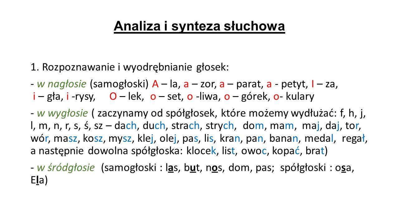 Analiza i synteza słuchowa 1. Rozpoznawanie i wyodrębnianie głosek: - w nagłosie (samogłoski) A – la, a – zor, a – parat, a - petyt, I – za, i – gła,