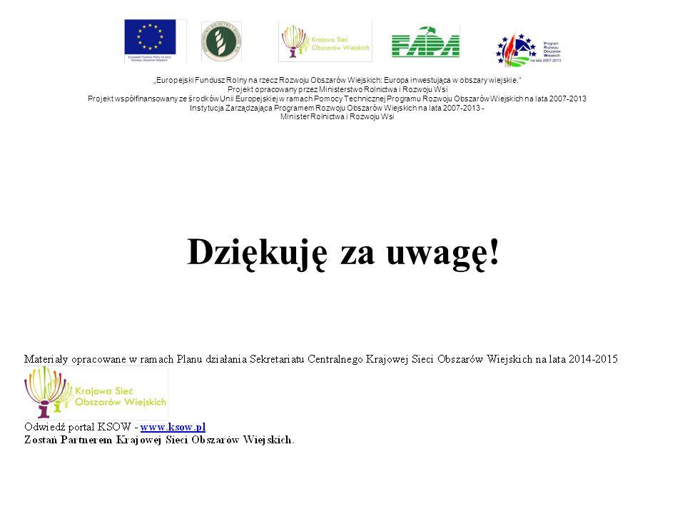 """Dziękuję za uwagę! """"Europejski Fundusz Rolny na rzecz Rozwoju Obszarów Wiejskich: Europa inwestująca w obszary wiejskie."""" Projekt opracowany przez Min"""