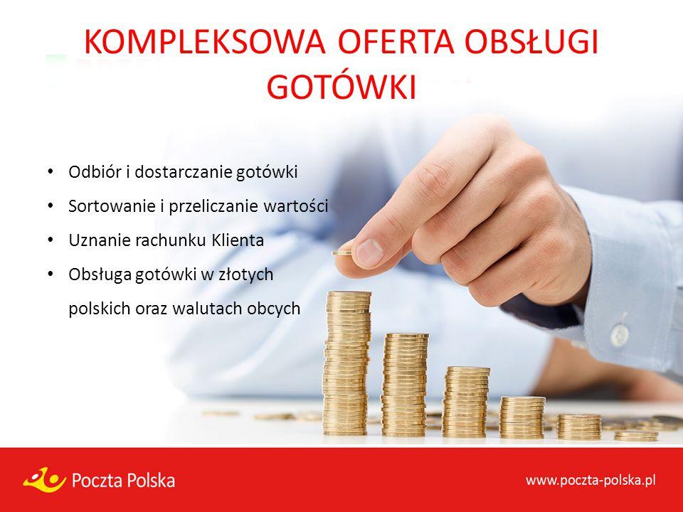 KOMPLEKSOWA OFERTA OBSŁUGI GOTÓWKI Odbiór i dostarczanie gotówki Sortowanie i przeliczanie wartości Uznanie rachunku Klienta Obsługa gotówki w złotych