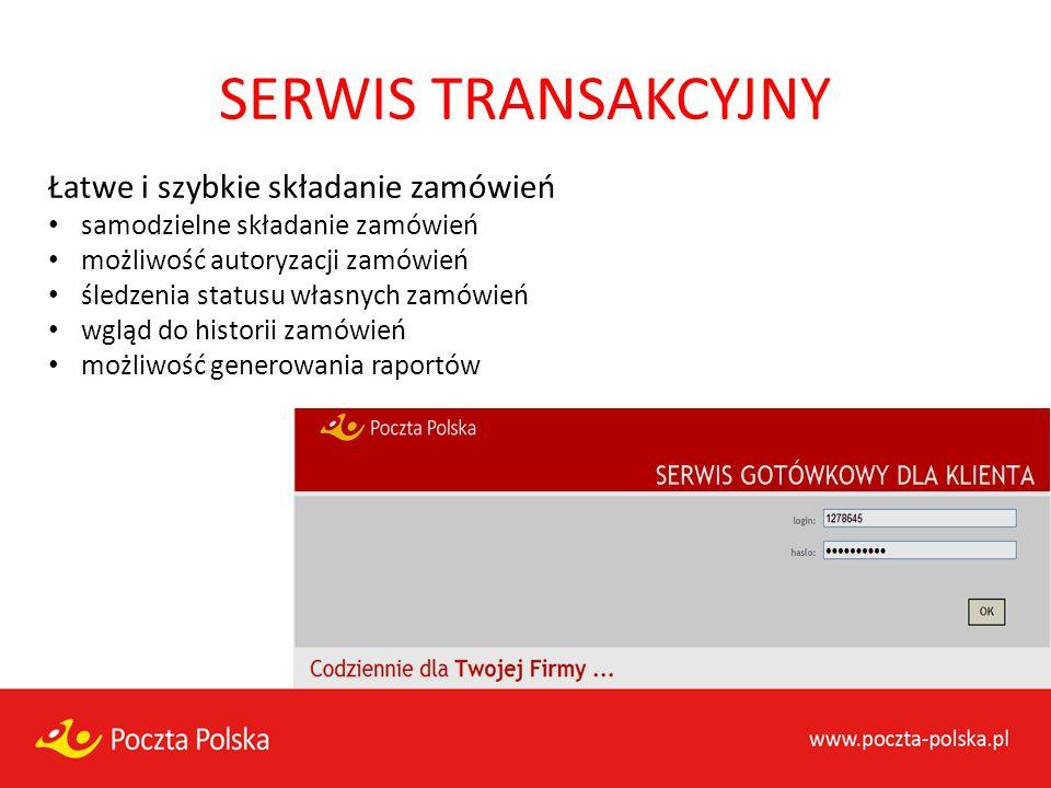 SERWIS TRANSAKCYJNY Łatwe i szybkie składanie zamówień samodzielne składanie zamówień możliwość autoryzacji zamówień śledzenia statusu własnych zamówi
