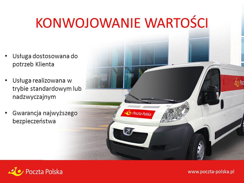 KONWOJOWANIE WARTOŚCI Usługa dostosowana do potrzeb Klienta Usługa realizowana w trybie standardowym lub nadzwyczajnym Gwarancja najwyższego bezpiecze