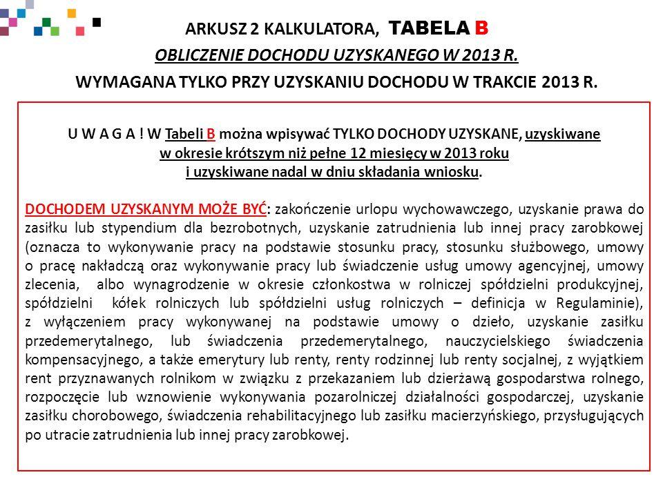 ARKUSZ 2 KALKULATORA, TABELA B OBLICZENIE DOCHODU UZYSKANEGO W 2013 R.