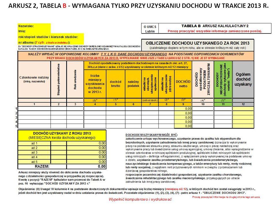 ARKUSZ 2, TABELA B - WYMAGANA TYLKO PRZY UZYSKANIU DOCHODU W TRAKCIE 2013 R.