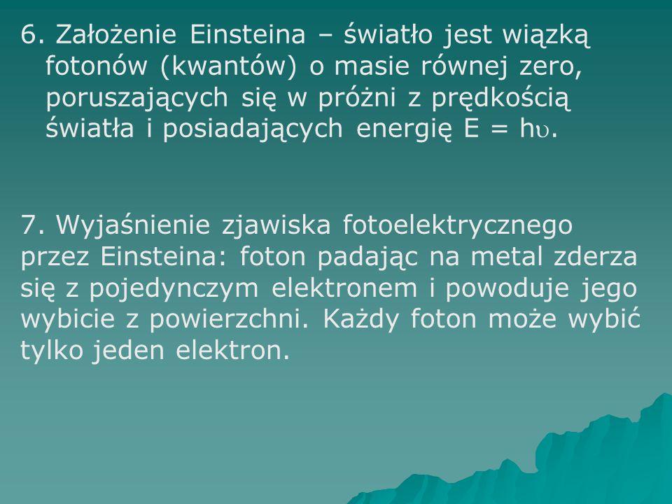 6. Założenie Einsteina – światło jest wiązką fotonów (kwantów) o masie równej zero, poruszających się w próżni z prędkością światła i posiadających en
