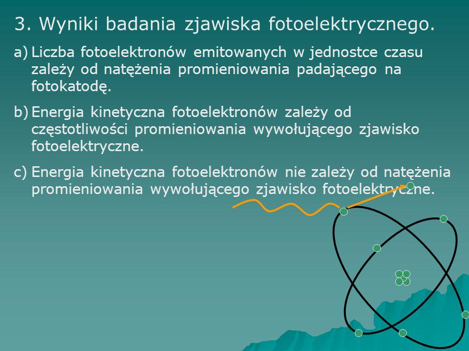 3. Wyniki badania zjawiska fotoelektrycznego. a)Liczba fotoelektronów emitowanych w jednostce czasu zależy od natężenia promieniowania padającego na f