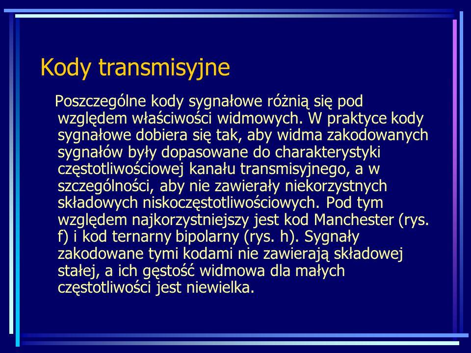 Kody transmisyjne Poszczególne kody sygnałowe różnią się pod względem właściwości widmowych. W praktyce kody sygnałowe dobiera się tak, aby widma zako