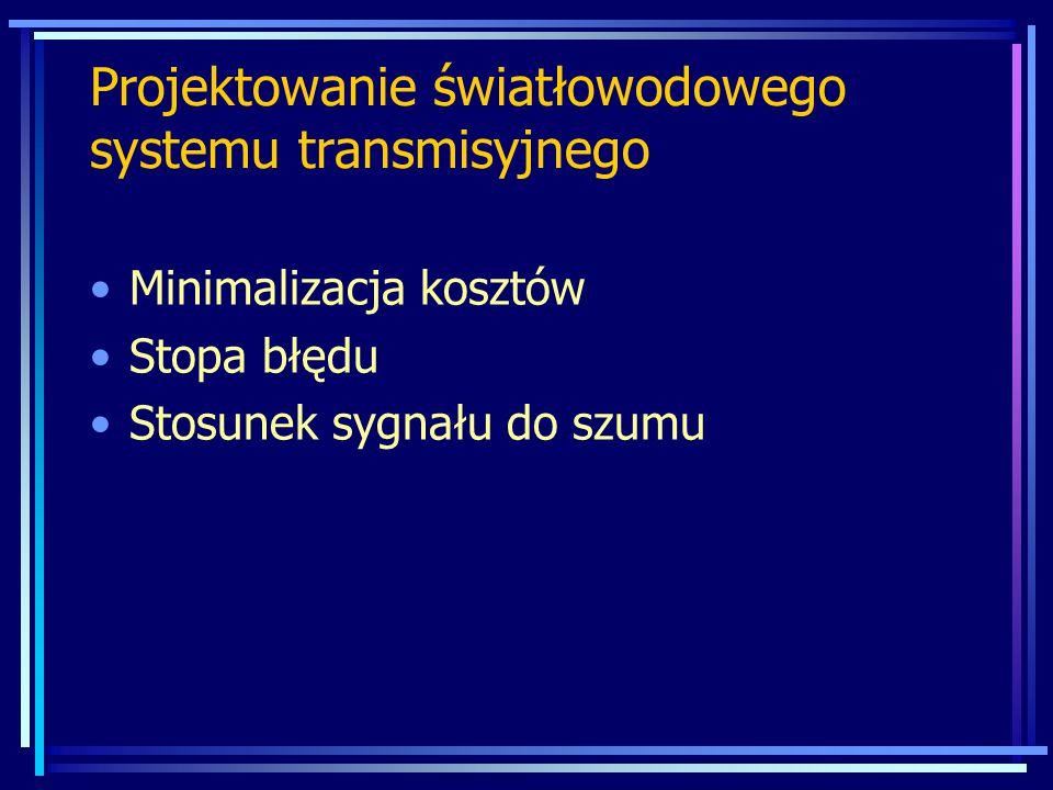 Minimalizacja kosztów Stopa błędu Stosunek sygnału do szumu Projektowanie światłowodowego systemu transmisyjnego