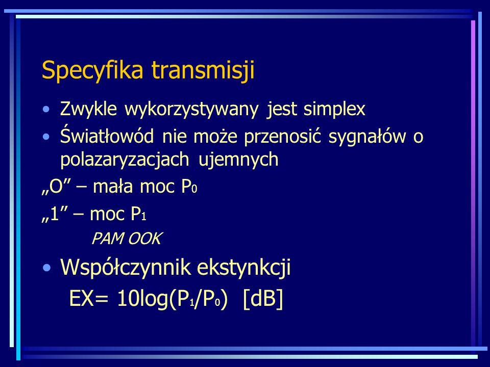 """Specyfika transmisji Zwykle wykorzystywany jest simplex Światłowód nie może przenosić sygnałów o polazaryzacjach ujemnych """"O"""" – mała moc P 0 """"1"""" – moc"""