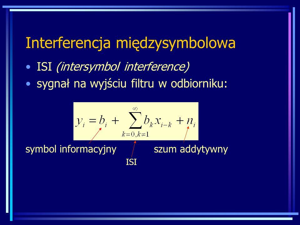 Interferencja międzysymbolowa ISI (intersymbol interference) sygnał na wyjściu filtru w odbiorniku: symbol informacyjny szum addytywny ISI