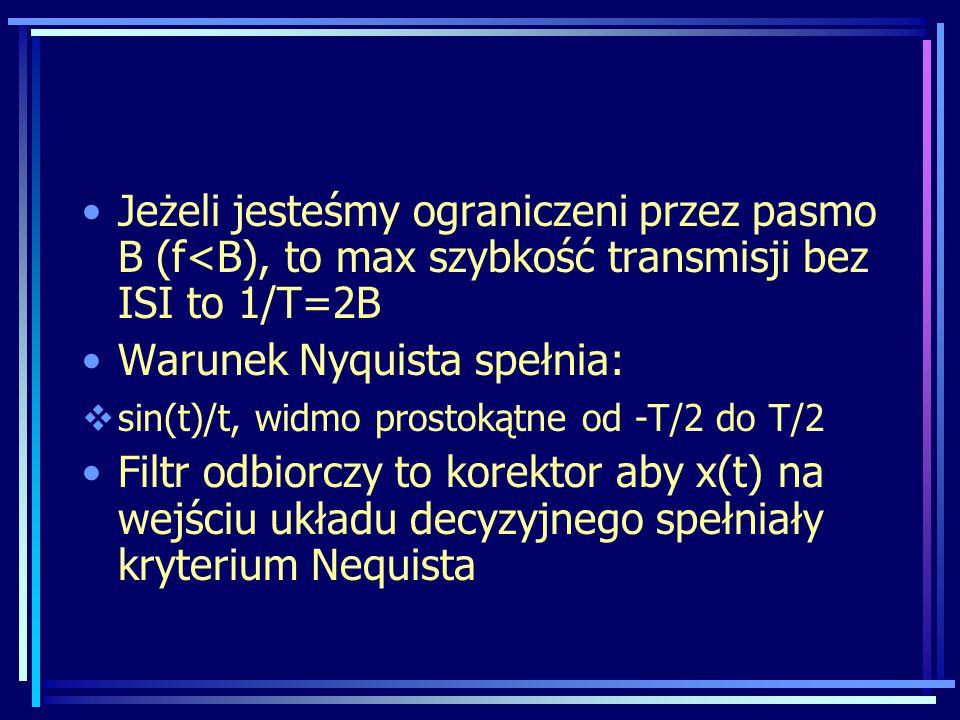 Jeżeli jesteśmy ograniczeni przez pasmo B (f<B), to max szybkość transmisji bez ISI to 1/T=2B Warunek Nyquista spełnia:  sin(t)/t, widmo prostokątne