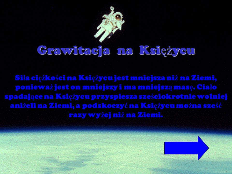 Grawitacja n n n na K K K Księżycu Si ł a ci ęż ko ś ci na Ksi ęż ycu jest mniejsza ni ż na Ziemi, poniewa ż jest on mniejszy i ma mniejsz ą mas ę. Ci