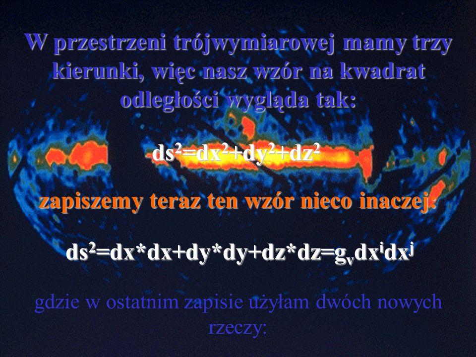W przestrzeni trójwymiarowej mamy trzy kierunki, więc nasz wzór na kwadrat odległości wygląda tak: ds 2 =dx 2 +dy 2 +dz 2 zapiszemy teraz ten wzór nie