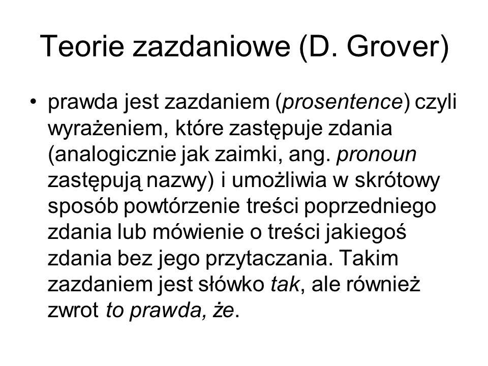 Teorie zazdaniowe (D. Grover) prawda jest zazdaniem (prosentence) czyli wyrażeniem, które zastępuje zdania (analogicznie jak zaimki, ang. pronoun zast