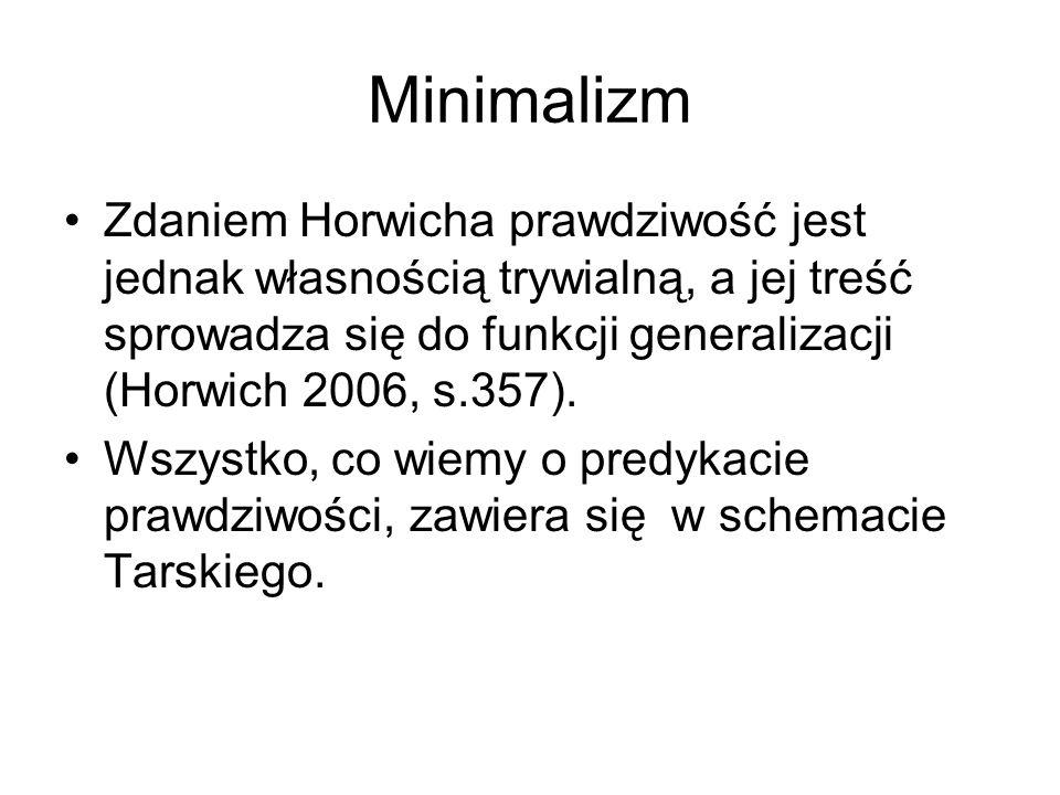 Minimalizm Zdaniem Horwicha prawdziwość jest jednak własnością trywialną, a jej treść sprowadza się do funkcji generalizacji (Horwich 2006, s.357). Ws
