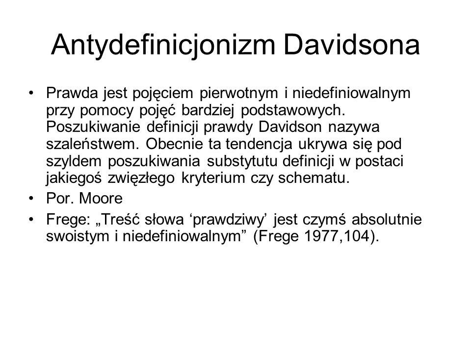 Antydefinicjonizm Davidsona Prawda jest pojęciem pierwotnym i niedefiniowalnym przy pomocy pojęć bardziej podstawowych. Poszukiwanie definicji prawdy