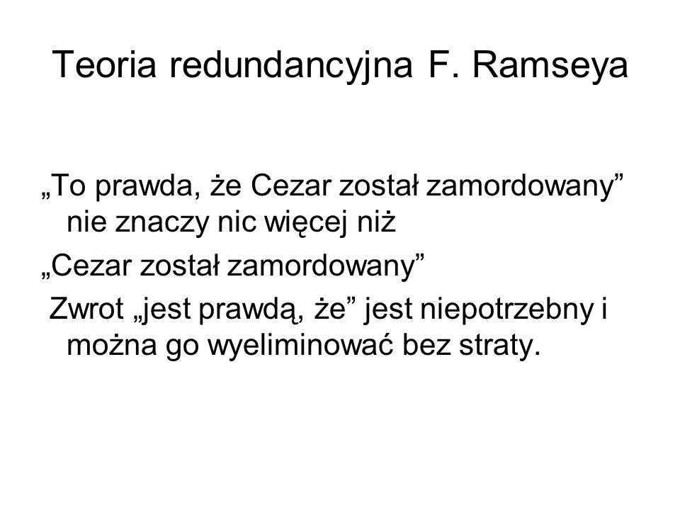 """Teoria redundancyjna F. Ramseya """"To prawda, że Cezar został zamordowany"""" nie znaczy nic więcej niż """"Cezar został zamordowany"""" Zwrot """"jest prawdą, że"""""""