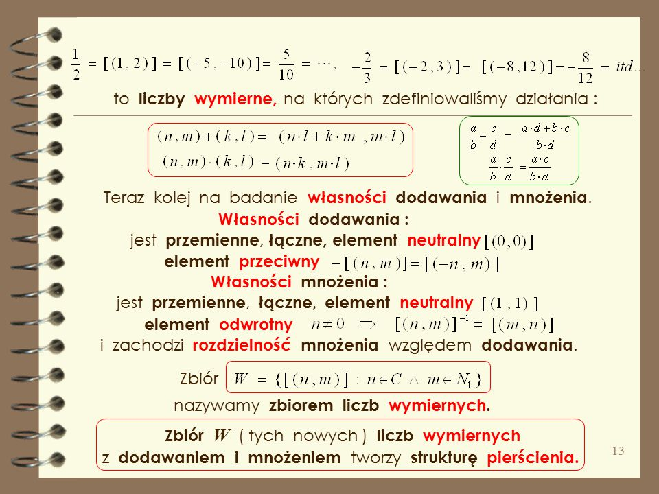 """Szkic konstrukcji zbioru liczb wymiernych jako par liczb całkowitych. Bierzemy W tym zbiorze definiujemy relację """" ≈ """" między parami liczb całkowitych"""