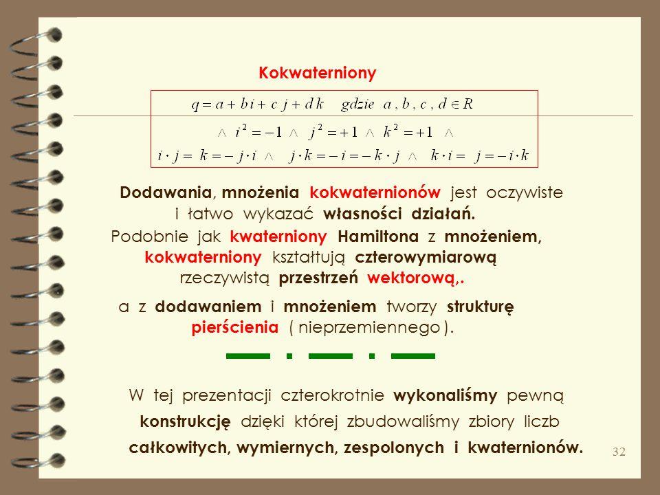 z czego wynika, że Tessaryny ( liczby dwuzespolone ) to liczby postaci : Tessaryny w 1848 r. i kokwaterniony w 1849 r. z szeregu wykładniczego. szereg