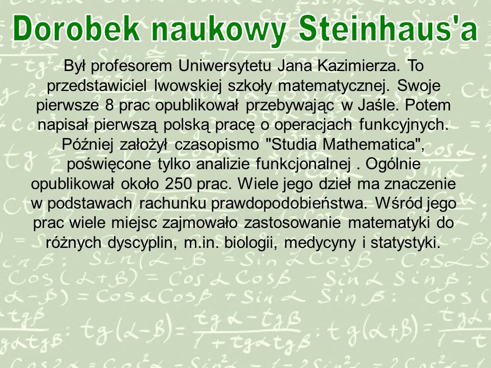 Był profesorem Uniwersytetu Jana Kazimierza.To przedstawiciel lwowskiej szkoły matematycznej.