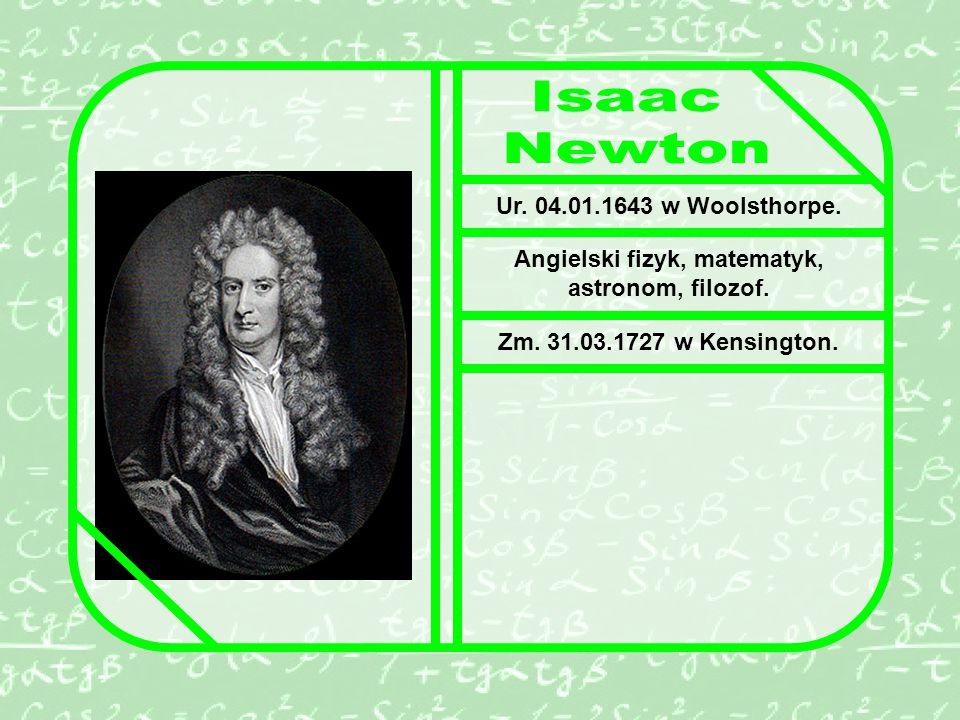 Ur.04.01.1643 w Woolsthorpe. Angielski fizyk, matematyk, astronom, filozof.
