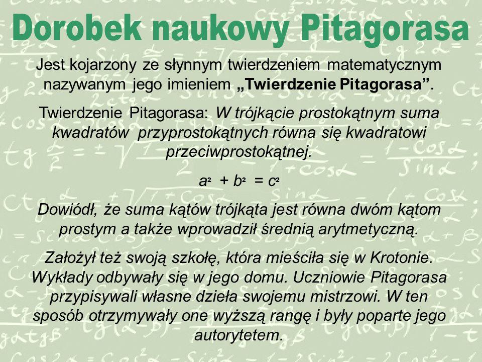 """Jest kojarzony ze słynnym twierdzeniem matematycznym nazywanym jego imieniem """"Twierdzenie Pitagorasa ."""