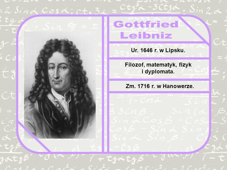 Ur. 1646 r. w Lipsku. Filozof, matematyk, fizyk i dyplomata. Zm. 1716 r. w Hanowerze.