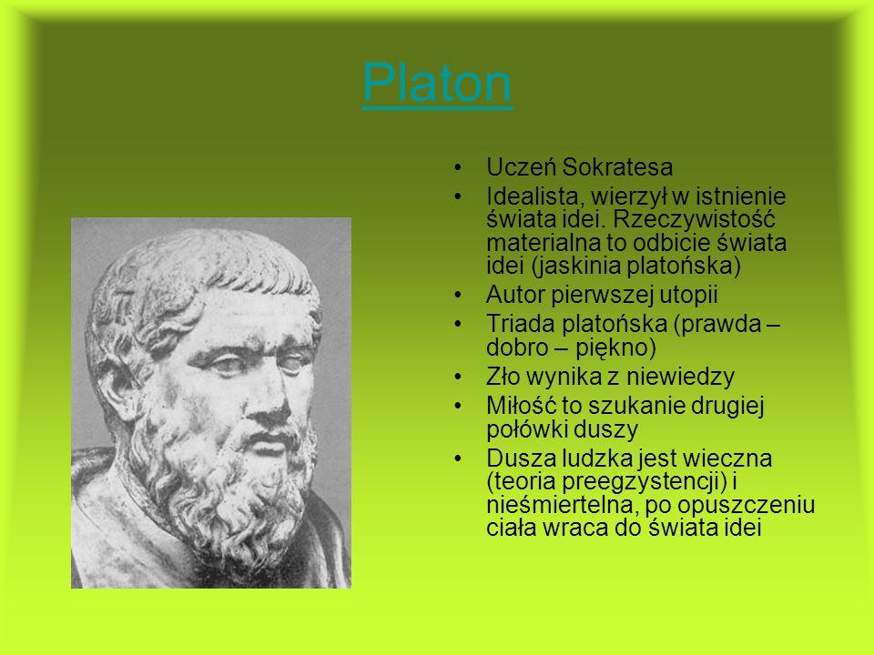 Platon Uczeń Sokratesa Idealista, wierzył w istnienie świata idei. Rzeczywistość materialna to odbicie świata idei (jaskinia platońska) Autor pierwsze