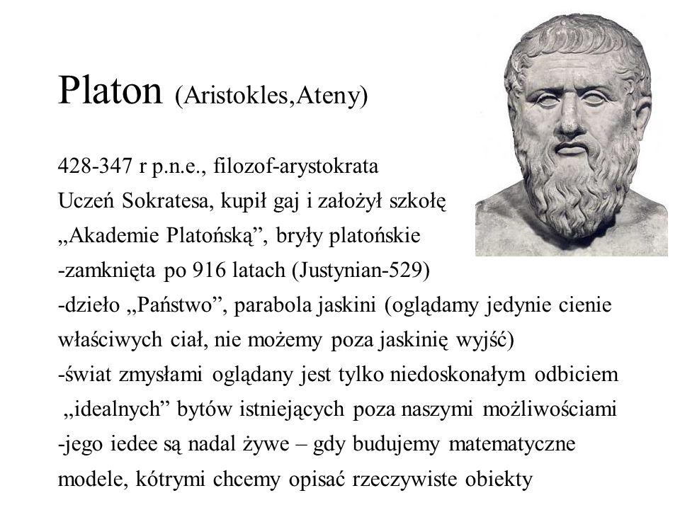 """Platon (Aristokles,Ateny) 428-347 r p.n.e., filozof-arystokrata Uczeń Sokratesa, kupił gaj i założył szkołę """"Akademie Platońską"""", bryły platońskie -za"""