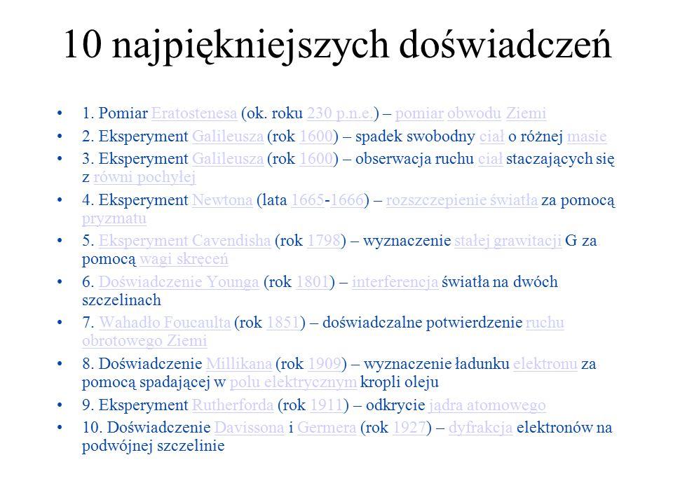 10 najpiękniejszych doświadczeń 1. Pomiar Eratostenesa (ok. roku 230 p.n.e.) – pomiar obwodu ZiemiEratostenesa230 p.n.e.pomiarobwoduZiemi 2. Eksperyme