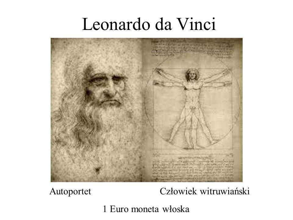 Leonardo da Vinci Autoportet Człowiek witruwiański 1 Euro moneta włoska