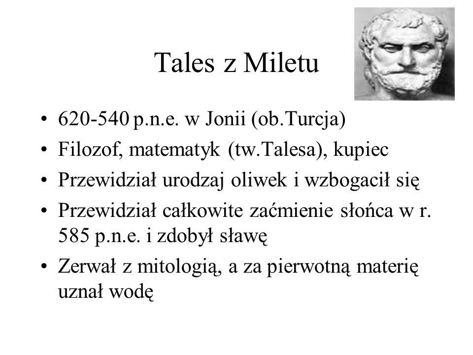 Tales z Miletu 620-540 p.n.e. w Jonii (ob.Turcja) Filozof, matematyk (tw.Talesa), kupiec Przewidział urodzaj oliwek i wzbogacił się Przewidział całkow