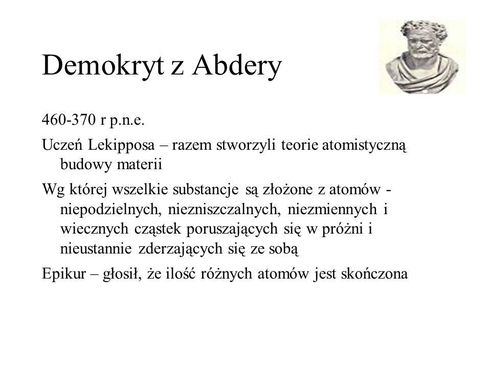 Demokryt z Abdery 460-370 r p.n.e. Uczeń Lekipposa – razem stworzyli teorie atomistyczną budowy materii Wg której wszelkie substancje są złożone z ato