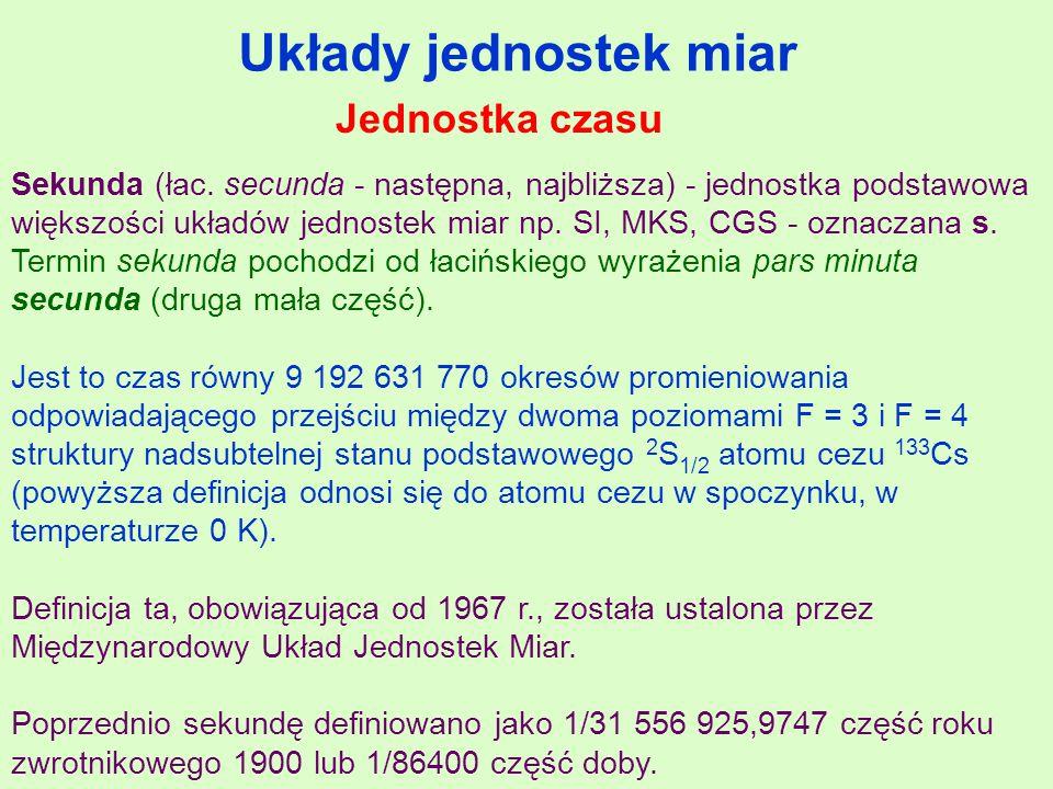 Układy jednostek miar Sekunda (łac.