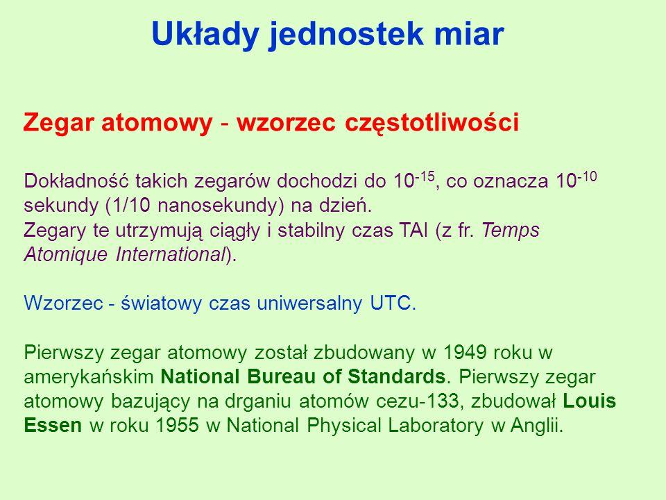 Układy jednostek miar Zegar atomowy - wzorzec częstotliwości Dokładność takich zegarów dochodzi do 10 -15, co oznacza 10 -10 sekundy (1/10 nanosekundy) na dzień.