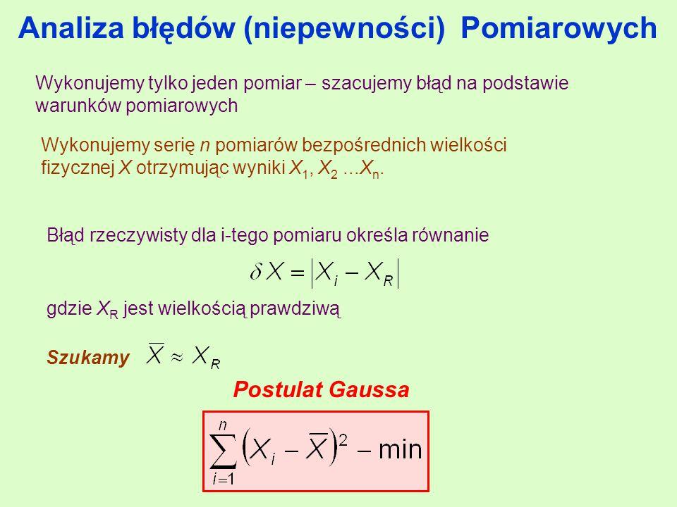 Analiza błędów (niepewności) Pomiarowych Wykonujemy serię n pomiarów bezpośrednich wielkości fizycznej X otrzymując wyniki X 1, X 2...X n.