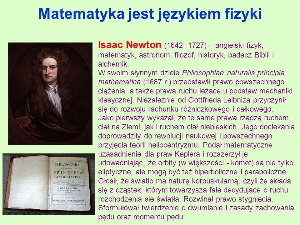 Matematyka jest językiem fizyki Isaac Newton (1642 -1727) – angielski fizyk, matematyk, astronom, filozof, historyk, badacz Biblii i alchemik.