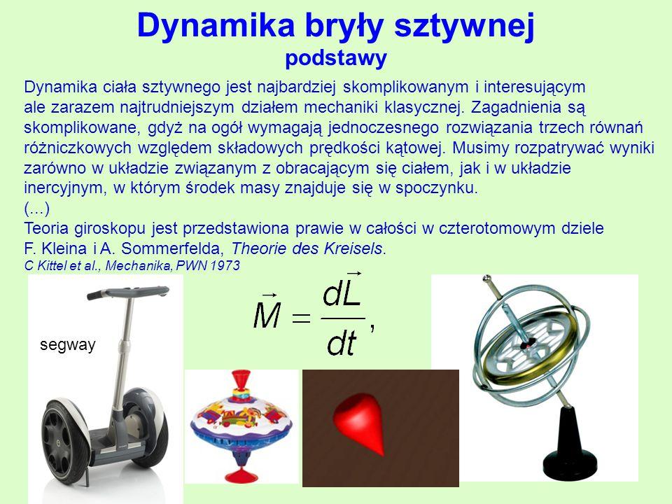 Dynamika bryły sztywnej podstawy Dynamika ciała sztywnego jest najbardziej skomplikowanym i interesującym ale zarazem najtrudniejszym działem mechaniki klasycznej.