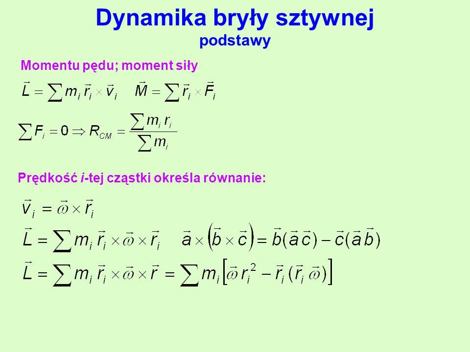 Dynamika bryły sztywnej podstawy Momentu pędu; moment siły Prędkość i-tej cząstki określa równanie:
