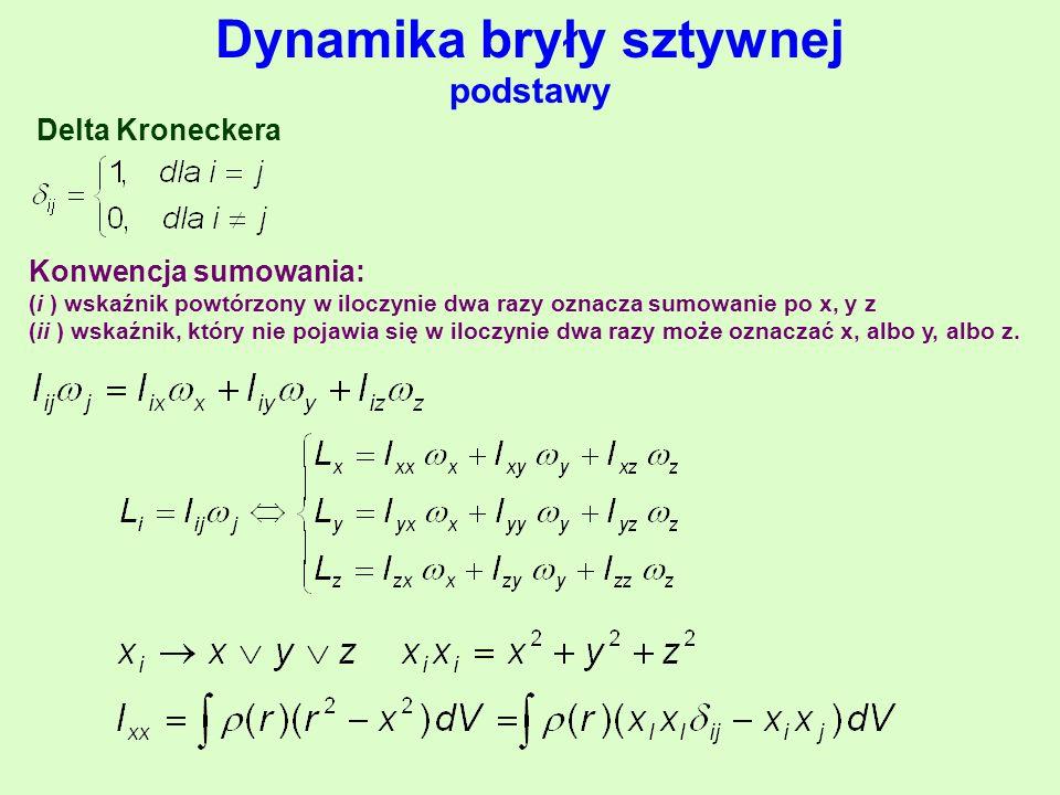 Dynamika bryły sztywnej podstawy Konwencja sumowania: (i ) wskaźnik powtórzony w iloczynie dwa razy oznacza sumowanie po x, y z (ii ) wskaźnik, który nie pojawia się w iloczynie dwa razy może oznaczać x, albo y, albo z.