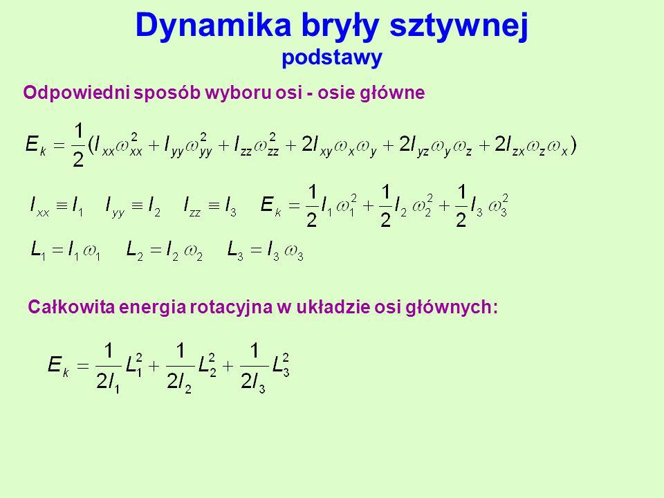 Dynamika bryły sztywnej podstawy Odpowiedni sposób wyboru osi - osie główne Całkowita energia rotacyjna w układzie osi głównych: