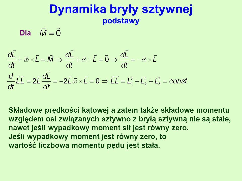 Dynamika bryły sztywnej podstawy Dla Składowe prędkości kątowej a zatem także składowe momentu względem osi związanych sztywno z bryłą sztywną nie są stałe, nawet jeśli wypadkowy moment sił jest równy zero.
