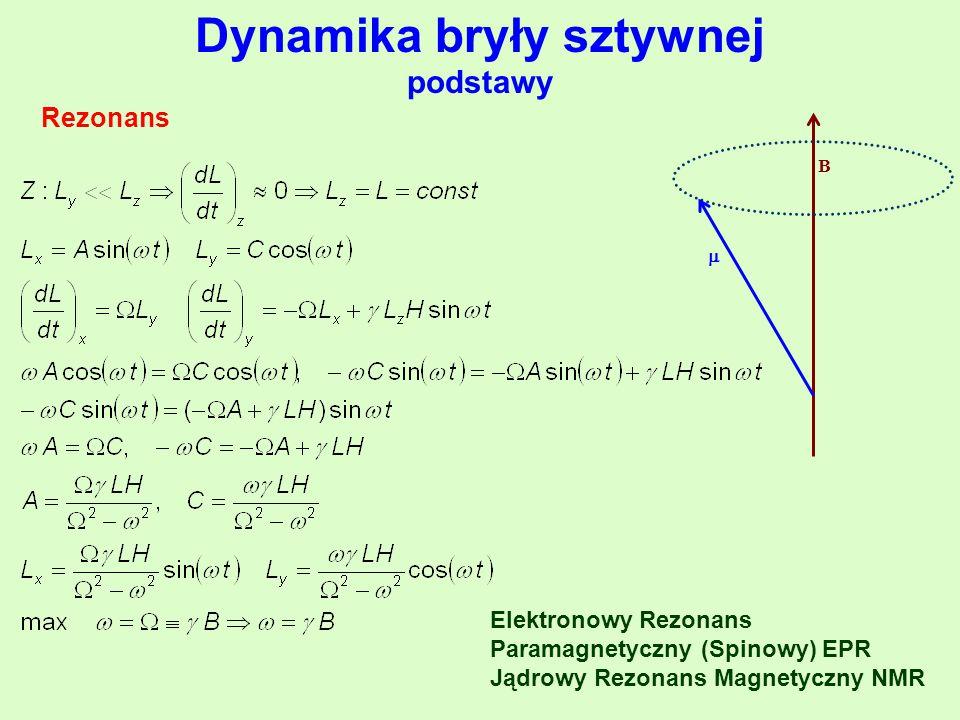 Dynamika bryły sztywnej podstawy Rezonans B  Elektronowy Rezonans Paramagnetyczny (Spinowy) EPR Jądrowy Rezonans Magnetyczny NMR