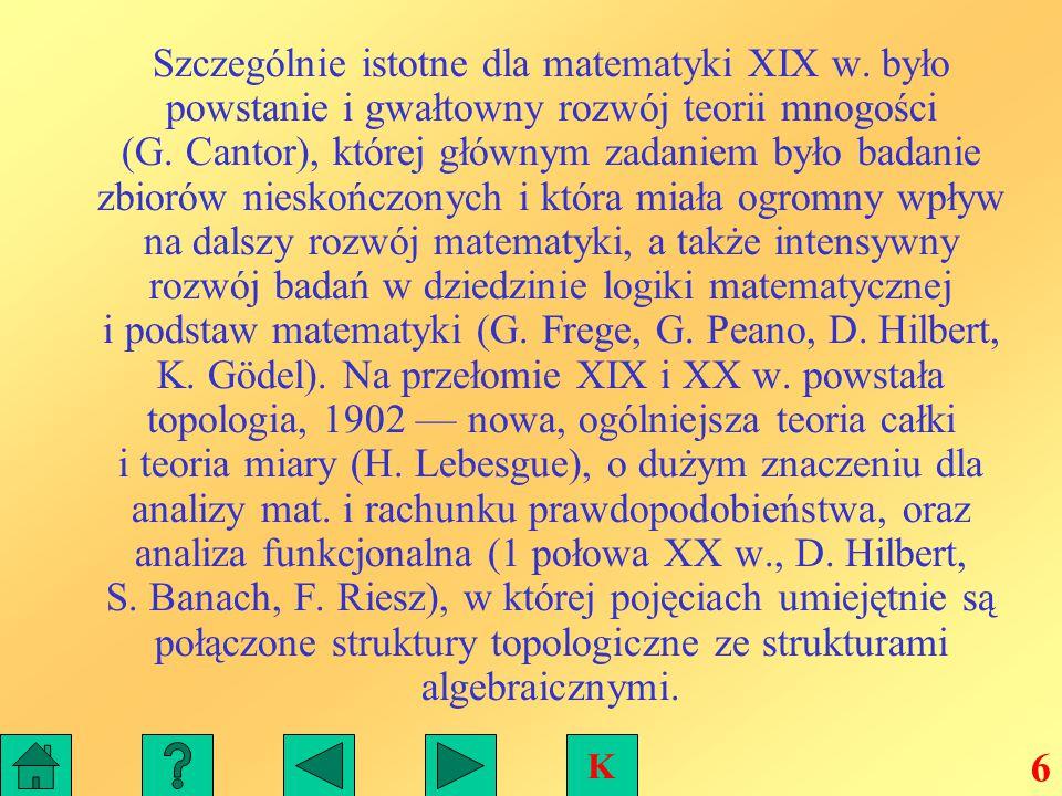 Matematykę XX w.