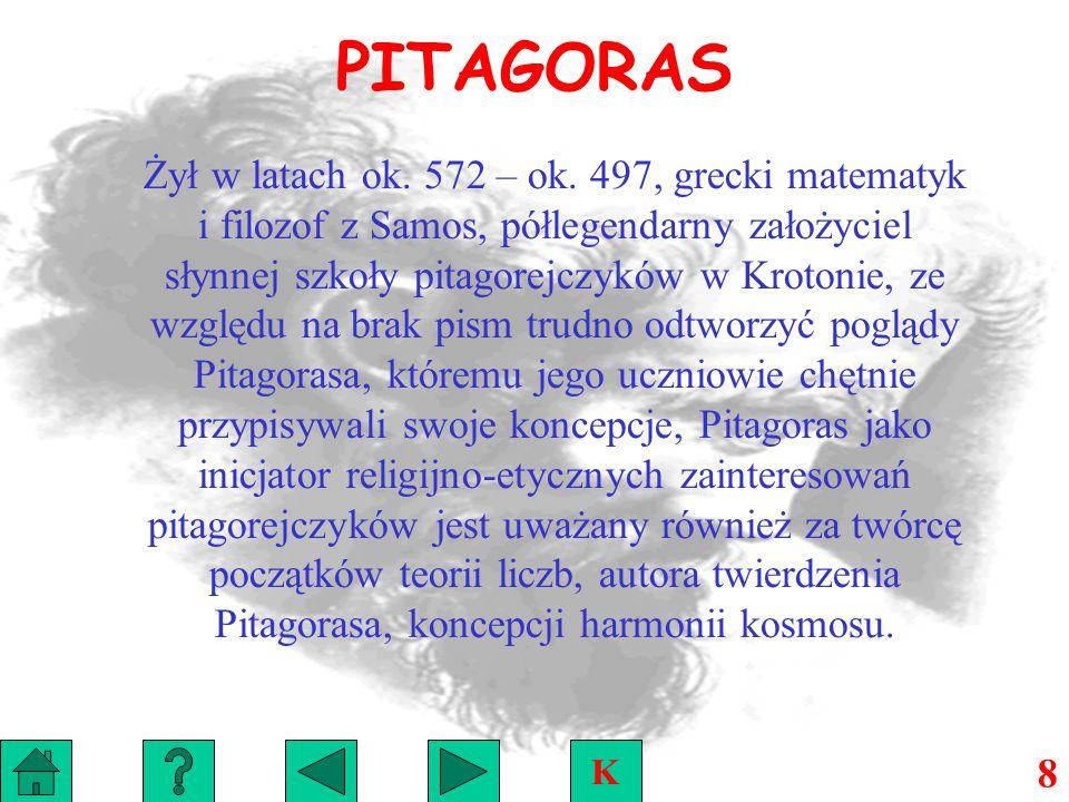 PITAGORAS Żył w latach ok.572 – ok.