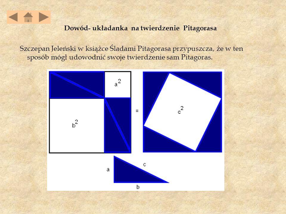 Dowód- układanka na twierdzenie Pitagorasa Szczepan Jeleński w książce Śladami Pitagorasa przypuszcza, że w ten sposób mógł udowodnić swoje twierdzenie sam Pitagoras.