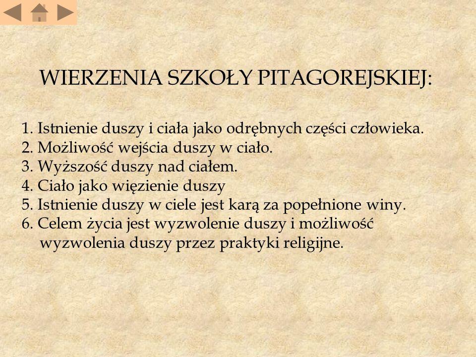 Odkrycia matematyczne Pitagorasa i jego szkoły 1.